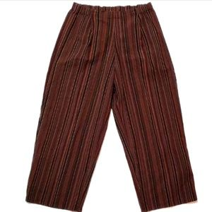 Flax Womens Pants Medium Striped Cotton Textured